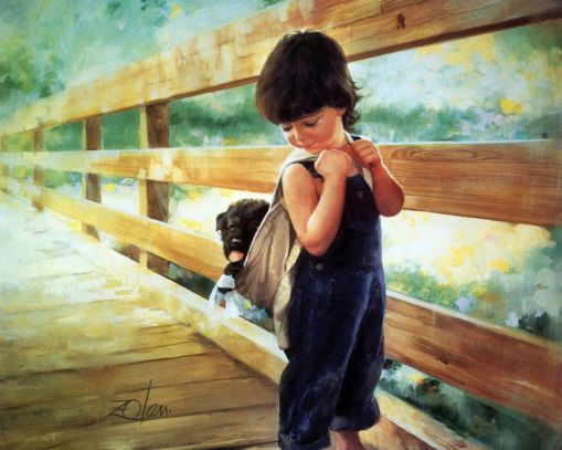 boy-caring-stray-dog