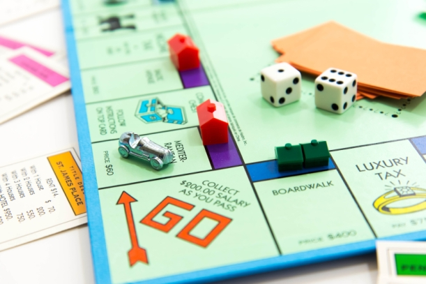 Monopoly board game in play