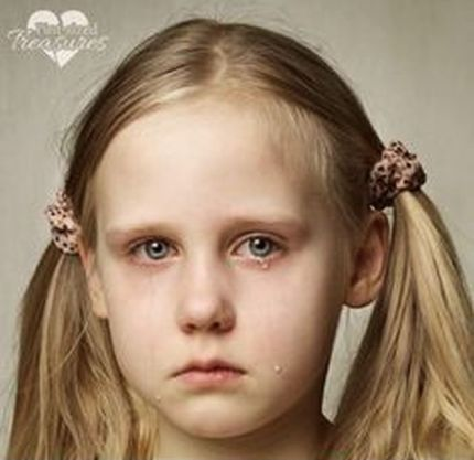 Child with tears - young girl crying, fine art portrait