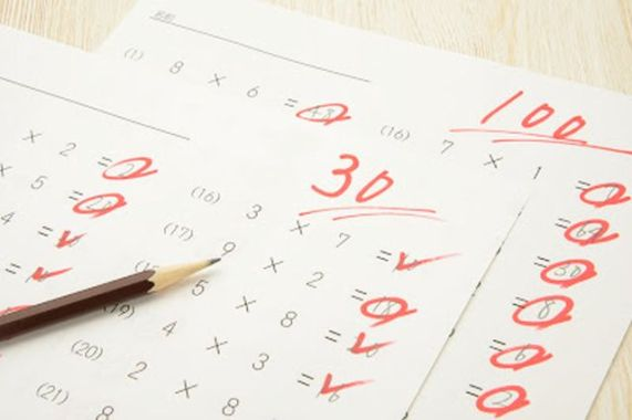 Educational concepts, math tests sith high and low score