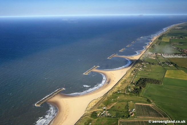 aerial photograph of artificial reef  offshore breakwater at  Sea Palling  on the Norfolk Coast