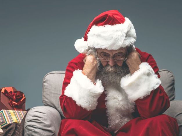 Nervous Santa Claus on Christmas eve