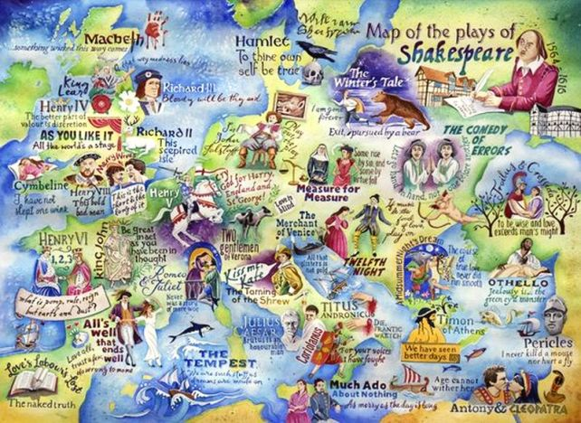 Map of the plays of Shakespeare